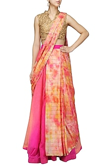 Pink Orange Tie Dye Lehenga