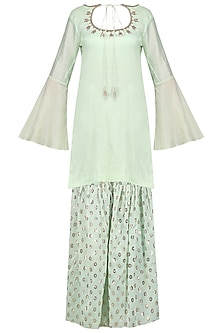 Mint Green Embroidered Kurta with Gharara Set