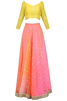 Pink and Yellow Mirror Embroidered Lehenga Set