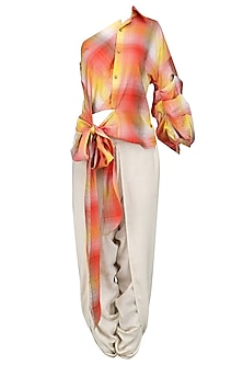 Red and Yellow Print One Shoulder Wrap Shirt and Dhoti Pants Set