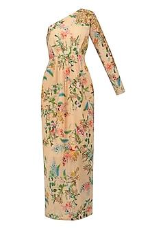 Nude Floral Print Maxi Dress