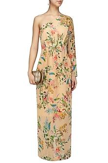 Nude Floral Maxi Dress