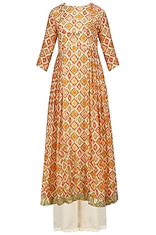 Multicolor Printed Embroidered Anarkali with Palazzo Pants Set