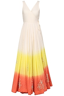 Off White Ombred Angrakha Maxi Dress