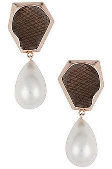 Rose gold plated pearl drop earrings by Bansri