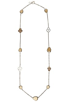 Gold plated long charm necklace by Bansri