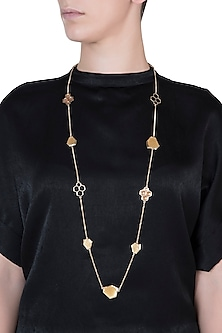 Gold plated long charm necklace