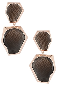 Rose gold plated double drop earrings by Bansri