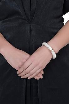 Gold plated pearl bangle bracelet by Bansri