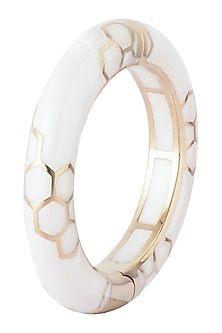 Gold plated pearl bangle bracelet by Bansri