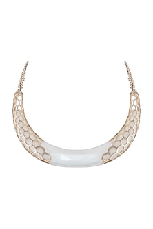 Gold plated resin bib necklace by Bansri