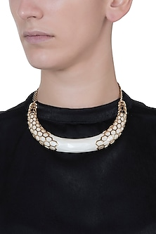 Gold plated resin bib necklace