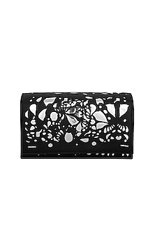 Black & Silver Embroidered Box Shaped Clutch by Born 2 Flaaunt