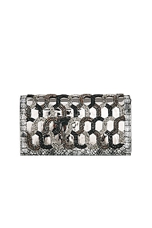 Black & Gold Beads Embroidered Clutch by Born 2 Flaaunt