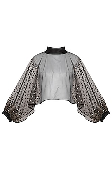 Black Embellished Short Cape With Cowl Neck by Born 2 Flaaunt