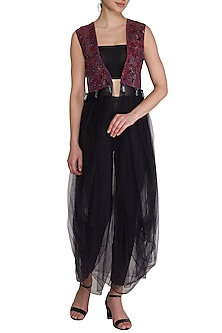 Wine & Navy Blue Embellished Long Cape by Born 2 Flaaunt