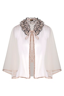 Peach Embellished Short Cape by Born 2 Flaaunt