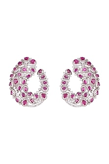 White Finish CZ Stones & Ruby Colored Stones Earrings by Born 2 Flaaunt by Abhishek & Shrruti