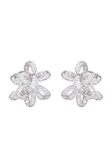 White Finish CZ Stones Asymmetrical Floral Earrings by Born 2 Flaaunt by Abhishek & Shrruti