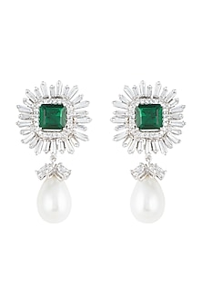 White Finish Swarovski & Green Emerald Cut Stones Long Earrings by Born 2 Flaaunt by Abhishek & Shrruti