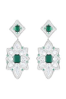 White Finish Green Stones Long Earrings by Born 2 Flaaunt by Abhishek & Shrruti