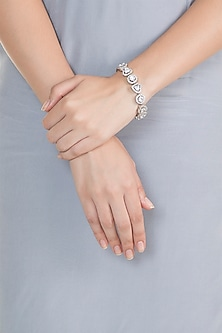 White Finish Swarovski Flexible Bracelet by Born 2 Flaaunt by Abhishek & Shrruti