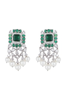 White Finish Emeral Cut Green Stones & Pearls Earrings by Born 2 Flaaunt by Abhishek & Shrruti