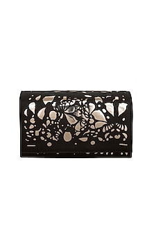 Black & Gold Embroidered Box Shaped Clutch by Born 2 Flaaunt