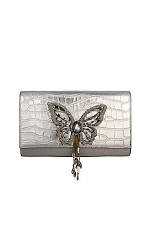 Silver Hand Embroidered Clutch by Born 2 Flaaunt