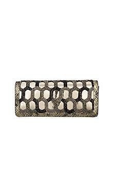 Black & Silver Embroidered Clutch by Born 2 Flaaunt