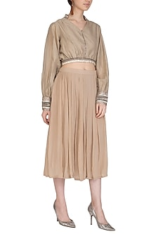 Beige Hand Embroidered Crop Top With Pleated Skirt by Breathe By Aakanksha Singh
