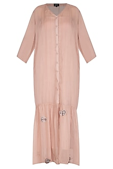 Icy Peach Embroidered Long Open Tunic With Inner by Breathe By Aakanksha Singh
