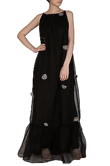 Black Embroidered Maxi Dress by Breathe By Aakanksha Singh