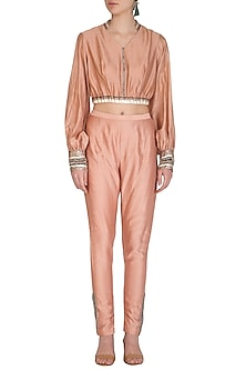 Icy Peach Embroidered Crop Top With Cigratte Pants by Breathe By Aakanksha Singh