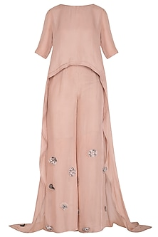 Icy Peach Embroidered Top With Palazzo Pants by Breathe By Aakanksha Singh
