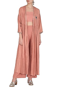 Copper Embroidered Shrug Jacket With Crop Top & Palazzo Pants by Breathe By Aakanksha Singh