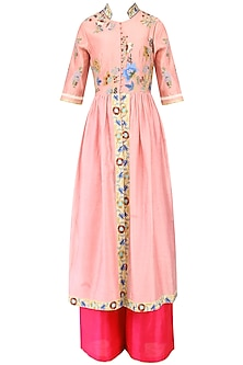 Icy Pink Pleated Kurta and Pants Set