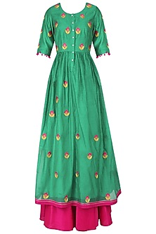 Emerald Green and Magenta Floral Embroidered Kalidaar Set