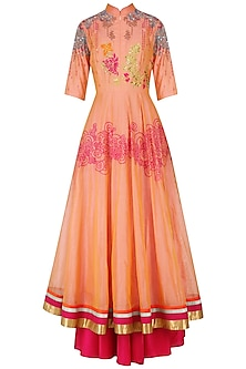 Orange Floral Embroidered Anarkali Set
