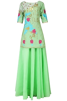 Peppermint Embroidered Short Kurta with Palazzo Set
