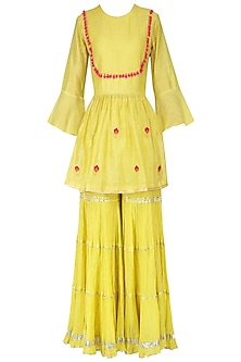 Haldi Green Embroidered Short Kurta with Gharara Set