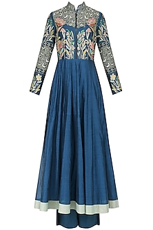 Navy Blue Embroidered Kalidaar Set