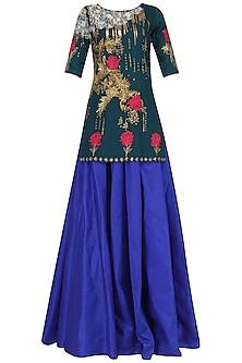 Navy Embroidered Short Kurta with Lehenga Set  by Breathe By Aakanksha Singh