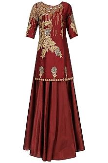 Deep Red Embroidered Short Kurta with Lehenga Set