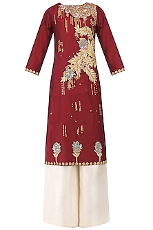 Deep Red Embroidered Kurta with Palazzo Pants Set