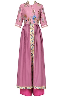 Onion Pink Pleated Kurta and Pants Set