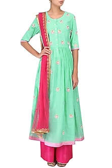 Lime Green and Pink Floral Embroidered Kalidaar Set by Breathe By Aakanksha Singh