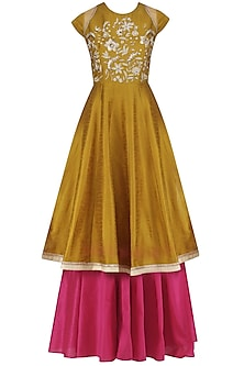 Gold Embroidered Flared Kurta and Skirt Set