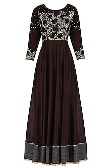Chocolate Brown Embroidered Anarkali Set