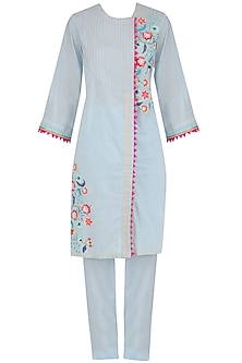 Powder Blue Embroidered Straight Kurta and Pants Set